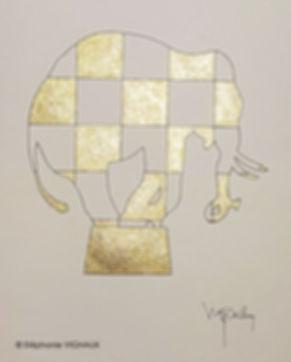 Oh my Gold. Peinture elephant. Bestiare art contemporain. Aquarelle pigments or et encre. Copyright Stephanie Vignaux. Artistepeintre, Tarbes, Occitanie, France