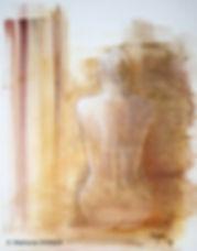 Une conscience très lointaine de ce fait. Technique mixte : aquarelle craie pastel. Peinture de femme nue. Art figuratif. Tableau couleurs ocre jaune brun orange marron blanc. Stéphanie Vignaux, artiste peintre, à Tarbes. Hautes-Pyrénées. Occitanie. France