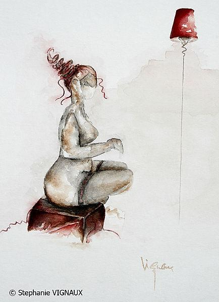 La mécaniques des fluides. Aquarelle. Peinture de femme. Tableau couleurs marron noir rouge. Art figuratif. Copyright Stephanie Vignaux, artiste peintre à Tarbes, Hautes-Pyrénées, Occitanie, France.