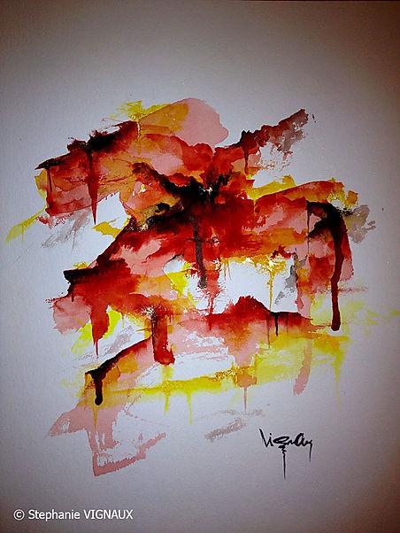 Le 33 décembre. Technique mixte : aquarelle, pigments or. Tableau abstrait. Peinture couleurs rouge, jaune, noir, or. Art abstrait. Stéphanie Vignaux, artiste peintre à Tarbes. Hautes-Pyrénées, Occitanie, France. Lyon.