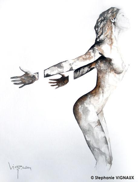 A la vie, elle renvoyait son image...   Aquarelle   40 x 30 cm   Copyright Stéphanie VIGNAUX   Peinture de nu féminin