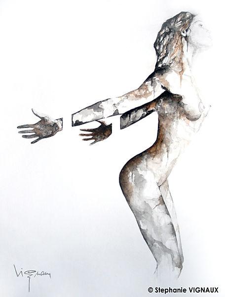 A la vie, elle renvoyait son image... | Aquarelle | 40 x 30 cm | Copyright Stéphanie VIGNAUX | Peinture de nu féminin