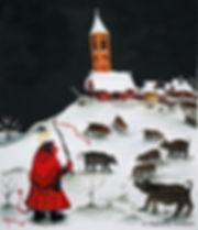Si le monde eut été autre. Aquarelle. Art Naïf. Peinture animal ange démon église cochons. Tableau couleurs noir blanc rouge jaune marron gris. Copyright Stéphanie Vignaux, artiste peintre à Tarbes, Hautes-Pyrénées, Occitanie, France.
