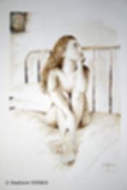 L'ivresse éternelle. Aquarelle. Peinture de femme. Art figuratif. Copyright Stéphanie Vignaux, artiste peintre, 65000 Tarbes, Hautes-Pyrénées, Occitanie, France. Collectionprivée Londres, Angleterre.