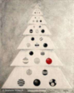 Malice et pain d'épices. Technique mixte : Huile, acrylique. Tableau figuratif. Peinture noir blanc rouge gris argent. Sapin de Noël et boules. Art. Stéphanie Vignaux artiste peintre à Tarbes, Hautes-Pyrénées, Occitanie, France. Honfleur