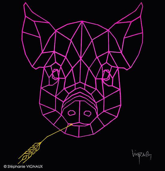 Se faire rentrer dans l'art. Acrylique sur toile de lin. 60 x 60 cm. Tête de cochon, porc géométrique avec épi de blé. Couleurs rose, jaune et noir. Tableau figuratif. Copyright Stephanie VIGNAUX, artiste peintre, Tarbes, Occitanie, France.