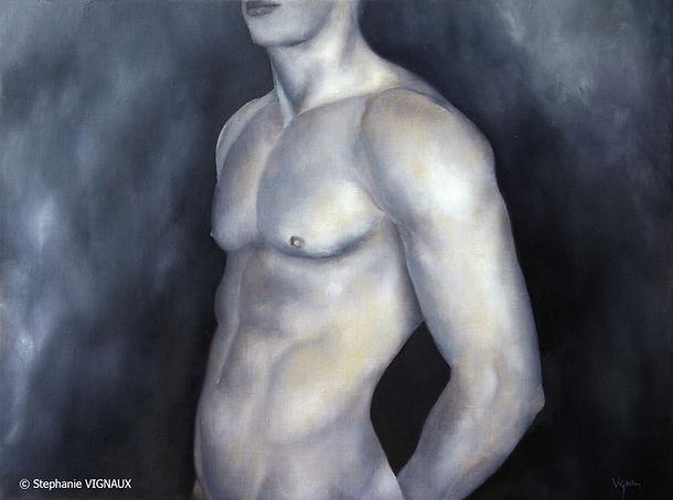 Le parfum de l'Oranger. Huile sur toile de lin. Peinture homme. Bleu. Stephanie Vignaux artiste peintre. 65000 Tarbes France