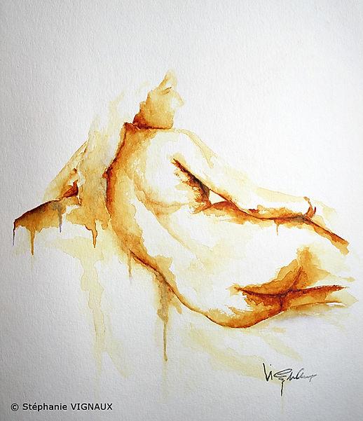 La solution citrine. Aquarelle. Couleurs peinture : or, jaune, orange, marron. Peinture de femme. Tableau figuratif. StéphanieVIGNAUX,artiste peintre à Tarbes 65000