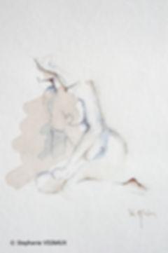 La nature de mon jeu. Technique mixte sur papier Arches. Aquarelle I Graphite. Peinture de femmenue. Tableau bleu marron rouge. Art. Stéphanie Vignaux artiste peintre. 65000 Tarbes. Hautes-Pyrénées. Midi-Pyrénées.Occitanie. Paris