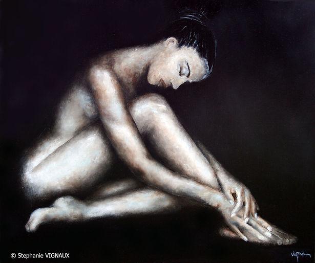 De ces êtres qui appartiennent au règne animal. Huile sur toile de lin. Peinture de femme nue. Tableau couleurs noir beige marron chair. Art. Stéphanie Vignaux, artiste peintre à Tarbes 65000. France