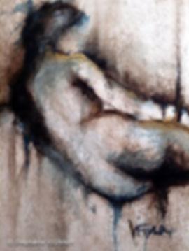 Peinture aquarelle. Couleurs bleu, marron, or. Tableau de femme figuratif. StéphanieVignaux, artiste peintre à Tarbes. Collection privée Lourdes
