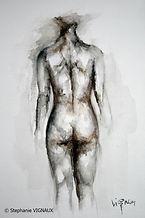 A l'autre. Aquarelle.15 x 10 cm. Diptyque. Peinture de femme nue. Figuratif. Bagnères de Bigorre. Copyright Stephanie Vignaux, artiste peintre. Tarbes. Hautes-Pyrénées. France