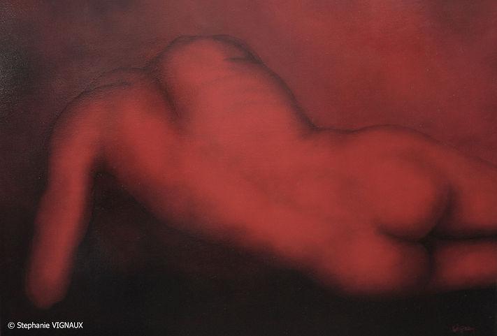 Ce que les anciens appelaient Fatum. Huile sur toile de lin. Glacis. Peinture homme nu. Réalisme. Stéphanie Vignaux artiste peintre à Tarbes 65000. Art