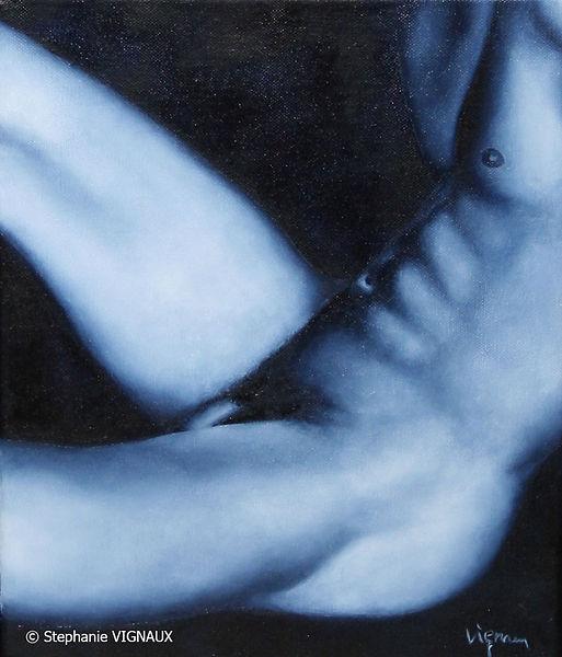 La distinction du genre. Peinture homme nu. Huile sur toile. Stéphanie Vignaux, artiste peintre. 65000 Tarbes