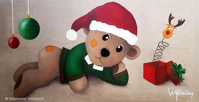 C'était tous les jours Noël ! Huile sur toile de lin naturel | 40 x 80 cm | Copyright Stephanie Vignaux, artiste peintre. Peinture à l'huile. Nounours et ours de Noël. Boules, cadeau, boite à renne.