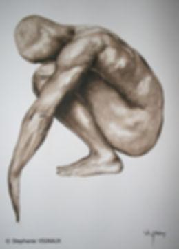 Cela avait été une de ces nuits de fin d'été, étouffante par sa moiteur. Aquarelle. Peinture homme nu. Art figuratif. Tableau couleurs noir marron brun sépia. Copyright Stéphanie Vignaux, artiste peintre à Tarbes, Hautes-Pyrénées, Occitanie, France.