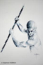 Les dogmes de la version finale. Aquarelle. Peinture homme. Art figuratif. Tableau couleurs noir, bleu. Copyright Stéphanie Vignaux, artiste peintre à Tarbes, Hautes-Pyrénées, Occitanie. Collection privée Pays-Bas.