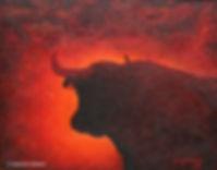 LeThème écarlate. Acrylique. Peinture de taureau. Art figuratif. Tableau couleurs rouge orange noir marron. Art animal. Bestiaire. Copyright Stéphanie Vignaux, artiste peintre, à Tarbes, Hautes-Pyrénées, Occitanie. France