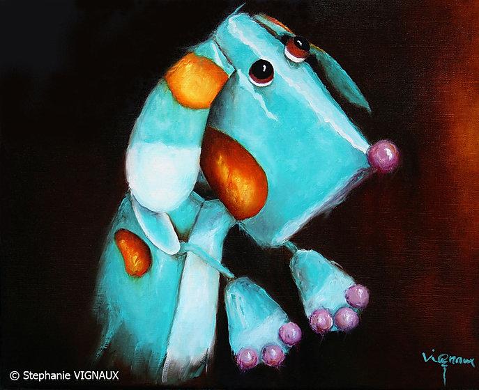 C'est l'histoire d'un chien bleu Marin. Peinture à l'huile sur toile de lin. Copyright Stephanie Vignaux artiste peintre - 65000 Tarbes - France