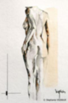 Fit la lumière en pleines ténèbres. Technique mixte aquarelle gouache phosphorescente encre. Peinture de femme nue. Tableau noir ocre rouille vert jaune phosphorescent. Art. Stéphanie Vignaux artiste peintre à Tarbes 65000. Hautes-Pyrénées. Midi-Pyrénées. Occitanie. France