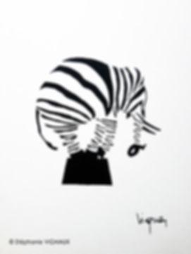 Il préférait faire le zèbre. Aquarelle d'un éléphant en zèbre. Couleurs noir et blanc. Copyright Stephanie Vignaux, artiste peintre. Tarbes, Occitanie