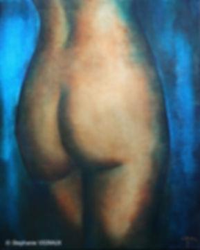Par pure vanité. Huile sur toile de lin. Peinture de femme. Tableau bleu marron ocre. Glacis. Stéphanie Vignaux artiste pe intre. 65000 Tarbes. Art
