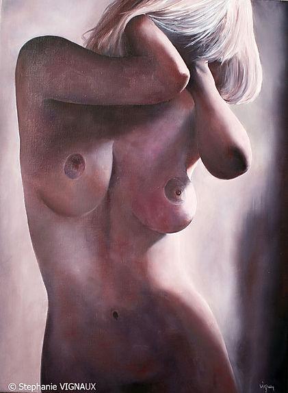 De l'étang des Invisibles. Huile sur toile de lin. Peinture de femme nue. Tableau couleur violine beige violet brun. Art. Stephanie Vignaux, artiste peintre à Tarbes 65000. France