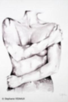 Aux bons soins de l'Obscurantisme. Aquarelle. Peinture de femme nue. Art figuratif. Tableau couleurs noir, gris de payne. Copyright Stéphanie Vignaux, artiste peintre à Tarbes, Hautes-Pyrénées, Occitanie, France. Collection privée Biarritz