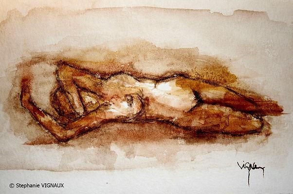Les six désirs d'Anne-Lise   Aquarelle   15 x 20 cm   Copyright Stéphanie VIGNAUX   Peinture de femme nue allongée