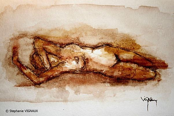 Les six désirs d'Anne-Lise | Aquarelle | 15 x 20 cm | Copyright Stéphanie VIGNAUX | Peinture de femme nue allongée