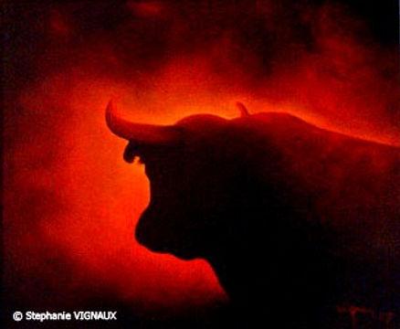 Peinture à l'huile de taureau au soleil couchant. Variation de Thème II   Huile sur toile de lin   38 x 55 cm   Copyright Stéphanie Vignaux, artiste peintre, Tarbes (65000), Hautes-Pyrénées, Occitanie, France
