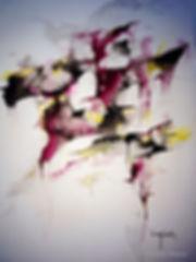 Ad Libitum. Technique mixte : aquarelle, gouache, pigments or. Tableau abstrait. Peinturecouleurs : noir, rose fushia, or. Art abstrait. Stéphanie Vignaux, artiste peintre à Tarbes. Hautes-Pyrénées. Occitanie. France