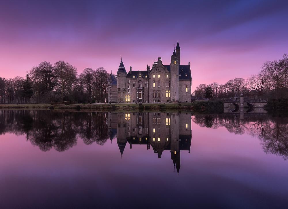 lever de soleil au chateau de Marnix Sainte Aldegonde à Bornem