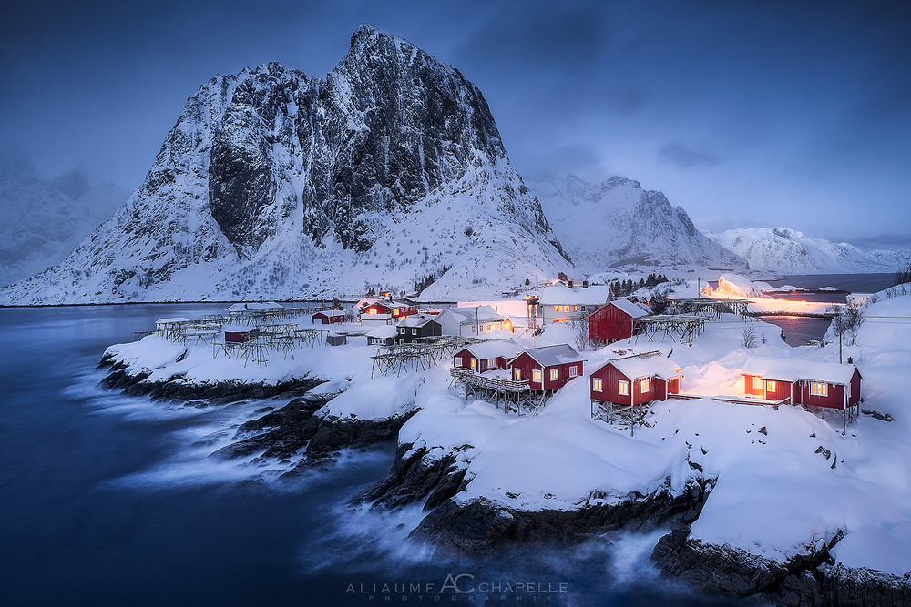 Blue hour in Hamnoy during winter
