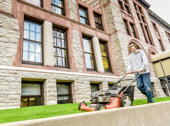 Mowing near Courthouse
