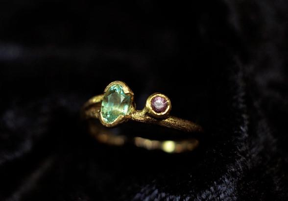 18k guld, madagaskar akvamarin & rubin