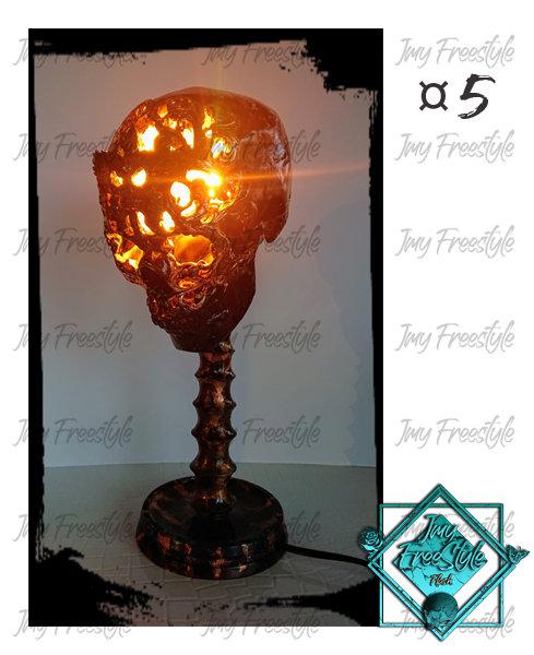 LAMPE SKULL CUIVRE VEILLIE