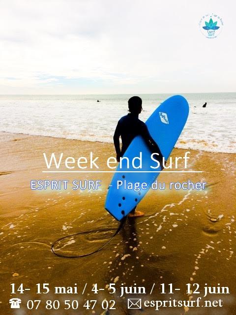Surf on the week end May 10, 2016  SURFING NEW DAYS April 28, 2016  Polaroids surf photography by ESPRIT SURF ® Trip S... April 21, 2016  Surf et Yoga au Maroc April 18, 2016  Le soleil, l'accueil et les vagues...un petit para... January 19, 2016  Embarquez pour le Maroc ! December 28, 2015  Trip Surf au Maroc December 8, 2015  Body Surf, tout naturellement September 30, 2015  Surf et Yoga - Esprit Surf ®- Vendée September 26, 2015  Surf sur la Plage du Rocher - Septembre September 10, 2015 Recent Posts  Surf on the week end May 10, 2016  SURFING NEW DAYS April 28, 2016 1/4 Featured Posts Surf on the week end   esprit surf    Profiter des vagues à cette saison c'est l'idéal dans une bonne combi et chaussons, même à 15 °, l'eau est bonne et le surf un régal !!  Pour réserver, tél : 07 80 50 47 02 ou par mail : espritsurf.net@gmail.com   Bon surf !