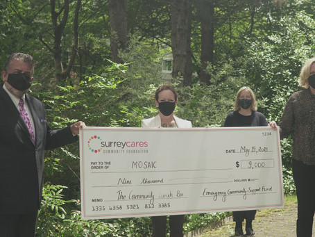 SurreyCares grants $9,000 to MOSAIC to help provide meals for vulnerable families during COVID-19.