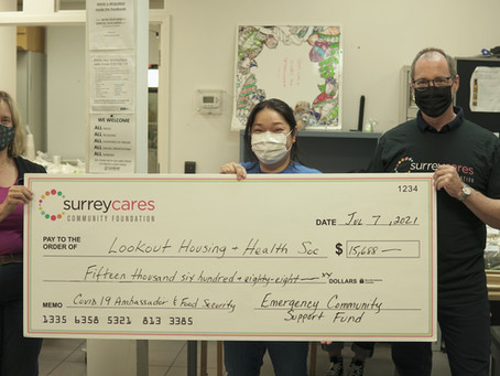 """Lookout Housing & Health Society Receives $15,688  for a """"COVID-19 Ambassador & Food Program."""""""