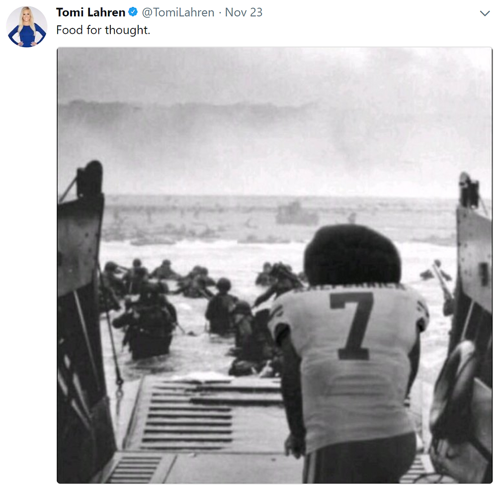 Tomi Lahren's placement of kneeling Kaepernick at D-Day