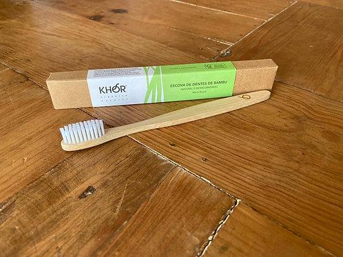 Escova de dentes de bambu KHOR com cerdas brancas