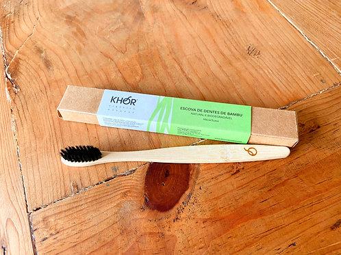 Escova de dentes de bambu KHOR com cerdas pretas