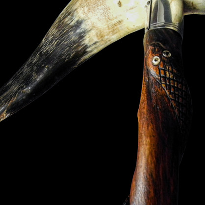 AnItalian folk art bovine horn walking stick with silver embellishmentsCirca. 20th Century.  Item: 130