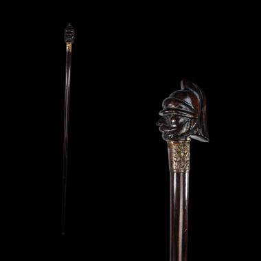 A Military Figure Rosewood Walking Stick Cane Circa. Early 19th Century.