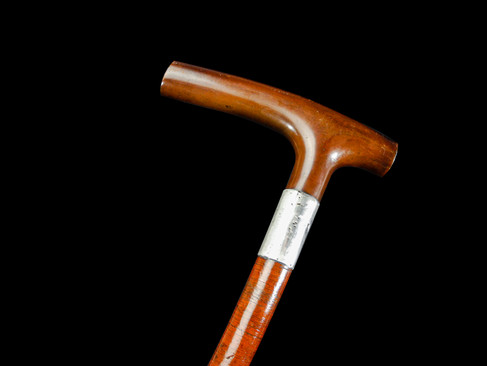 A Leather Washer Walking Cane C. 19th Century.  Item: 149