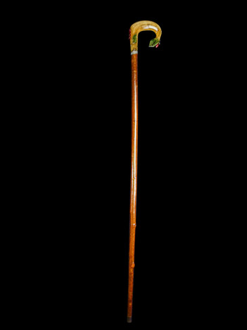 A Decorative Carved Floral Horn Walking Cane C. 20th Century.  Item: 136