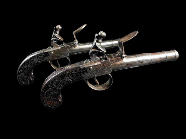 A Pair Of Flintlock Box-Lock Pistols By Barber Of Newark C.1785