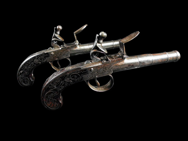 A Pair Of Flintlock Box-Lock Pistols By Barber Of Newark C.1785.