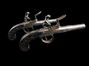 A Pair Of Flintlock Box-Lock Pistols By Barber Of Newark C.1785.